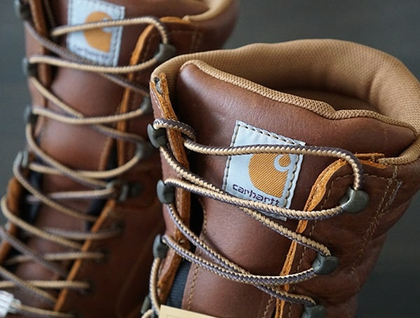 Tounge And Lace Detail With Metal Hardware Mens Work Boots Carhartt Made In The Usa 8 Inch Composite Toe