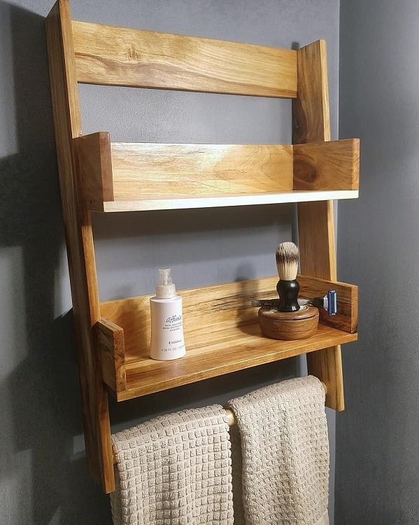 Towel Holder Bathroom Wooden Shelf Sdworksus