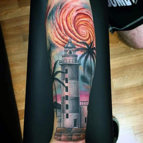 Tower And Palm Tree Tattoo For Men On Arms