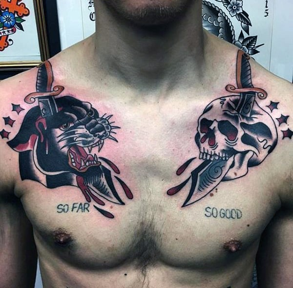 Traditioanl Skull And Cat Tattoo Mens Chest