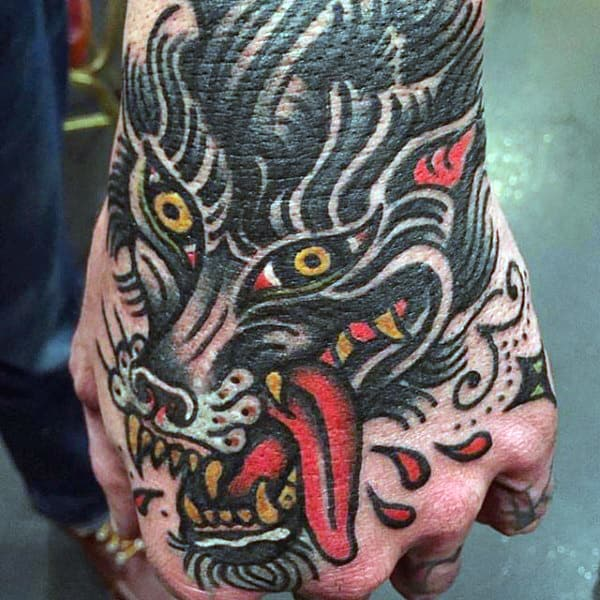 Traditional American Monster Tattoo Guys Hands