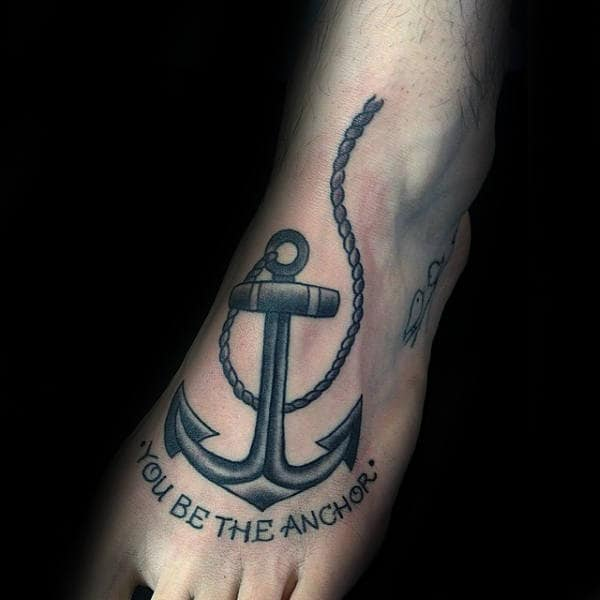 Traditional Anchor With Rope Mens Foot Tattoo Designs