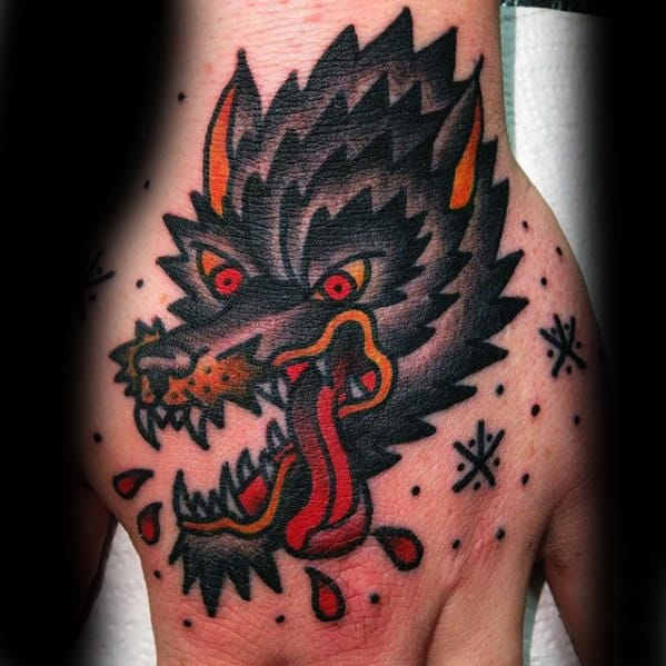 Traditional Angry Wolf Guys Hand Tattoos