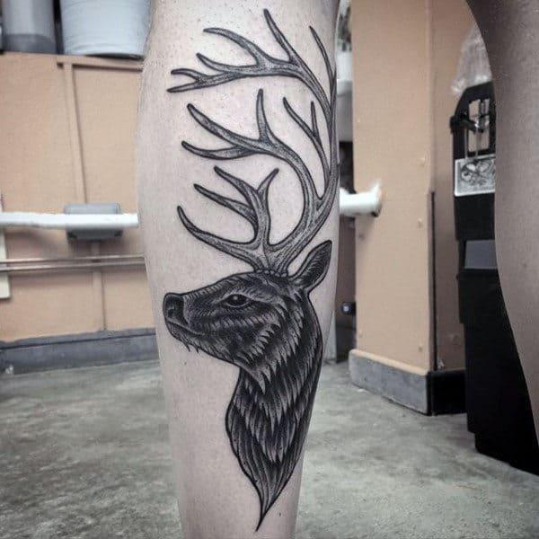 Traditional Antler Black Ink Mens Leg Tattoo