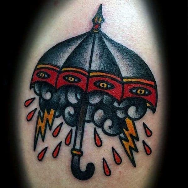 Traditional Arm Male Umbrella Rain Storm Cloud Tattoo Ideas