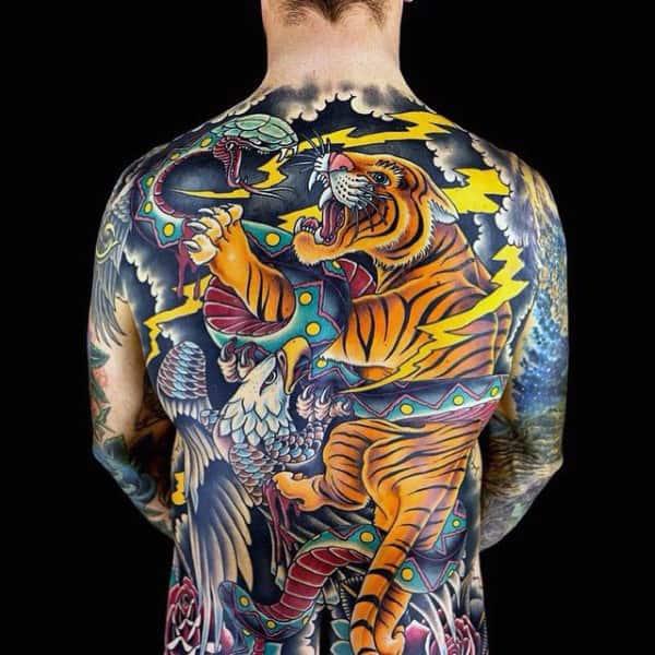 Traditional Back Mens Tiger Tattoos