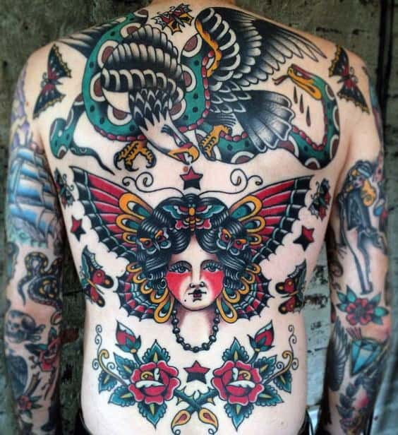 50 traditional back tattoo design ideas for men old for Traditional old school tattoo designs