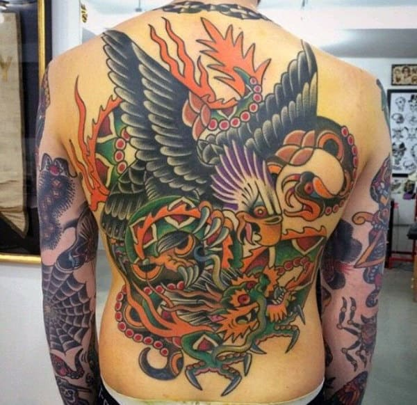 Traditional Back Tattoo Of Eagle With Dragon For Guys