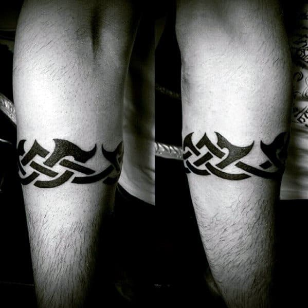 Traditional Barb Wire Tribal Armband Tattoos For Guys
