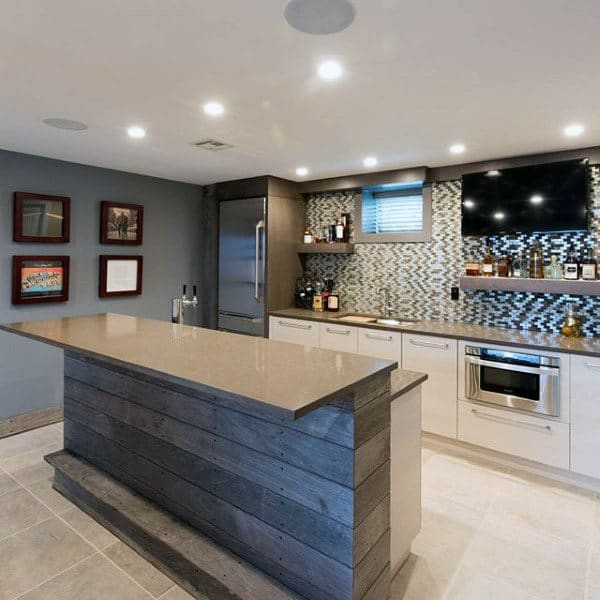 Traditional Basement Bar Design Ideas With Island