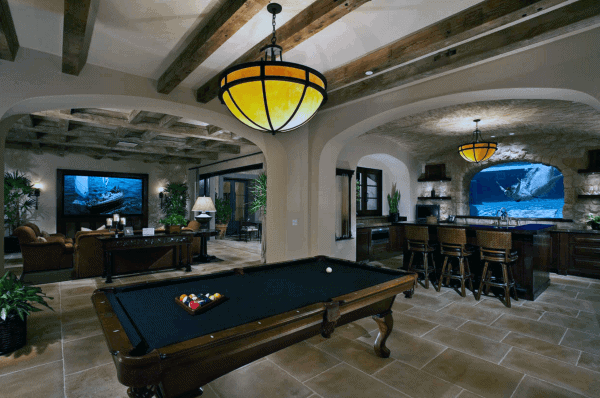 Traditional Basement Design With Swimming Pool Window At Bar