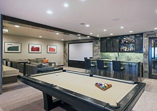 Traditional Basement Man Cave Designs