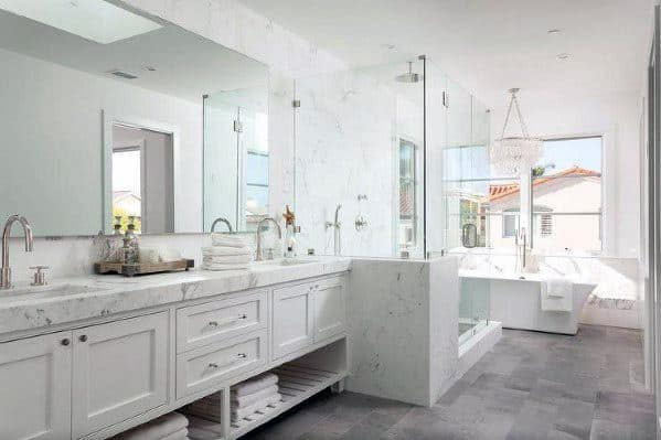 Traditional Bathroom White Cabinet With Grey Tile Floor Ideas