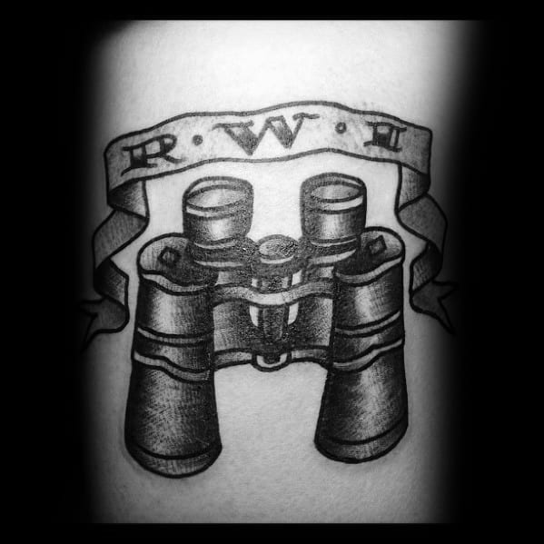 Traditional Black And Grey Banner Binoculars Tattoo Inspiration For Men