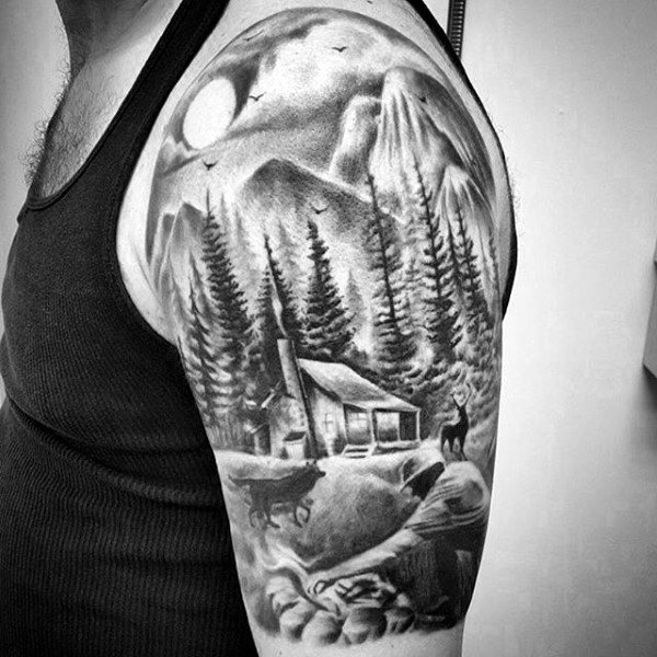 Traditional Black Ink Forest And Cabin Half Sleeve Tattoo On Man