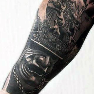 Traditional Black Ink Samurai Mask With Dragon Half Sleeve Tattoo For Men