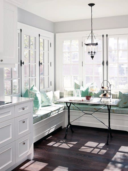 Traditional Booth White Cabinet Breakfast Nook