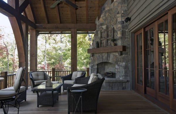 Traditional Cabin Style Outdoor Fireplace On Patio