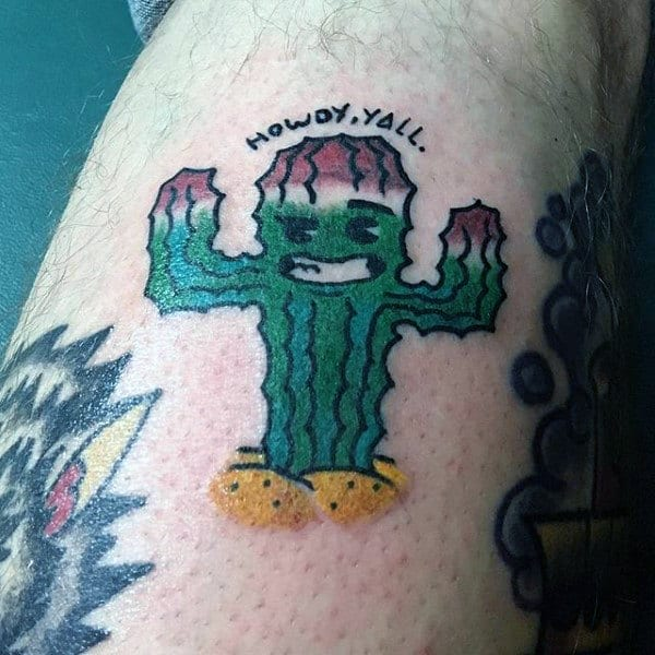 Traditional Cactus Tattoo Design For Guys
