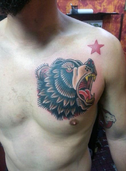 Traditional California Bear Guys Upper Chest Tattoo Designs