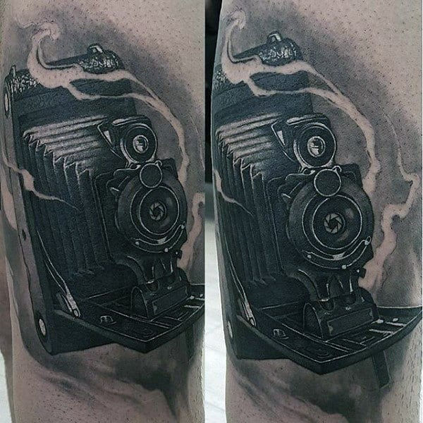Traditional Camera Tattoo Male Forearms