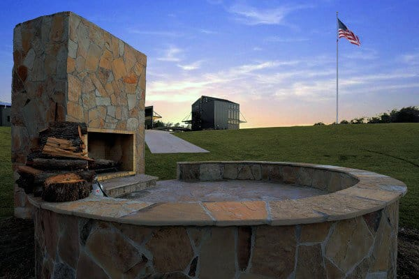 Traditional Campfire Outdoor Stone Fireplace Designs
