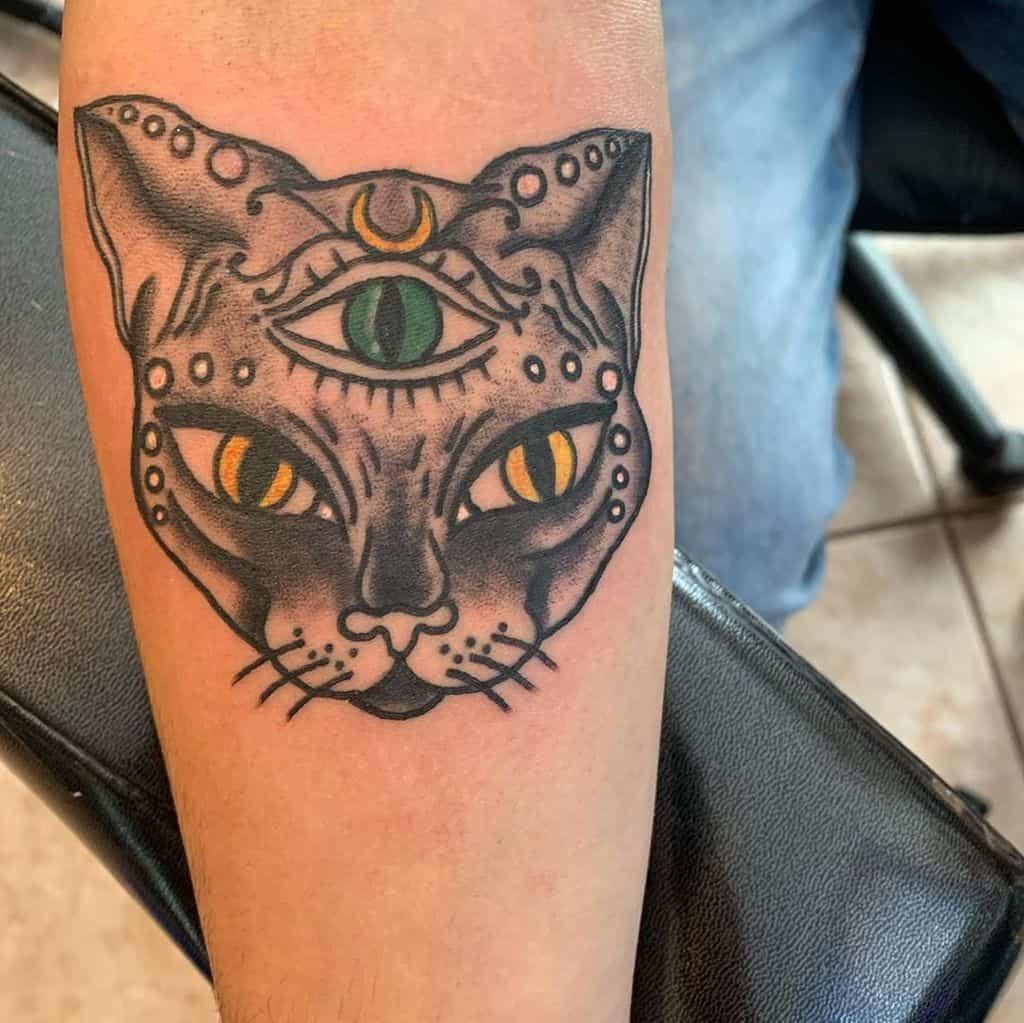 Traditional Cat Third Eye Tattoo