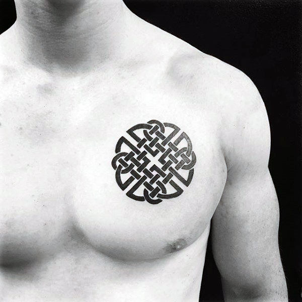 Traditional Celtic Knot Mens Small Upper Chest Tattoos