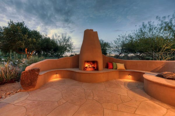 Traditional Cement Curved Outdoor Fireplace