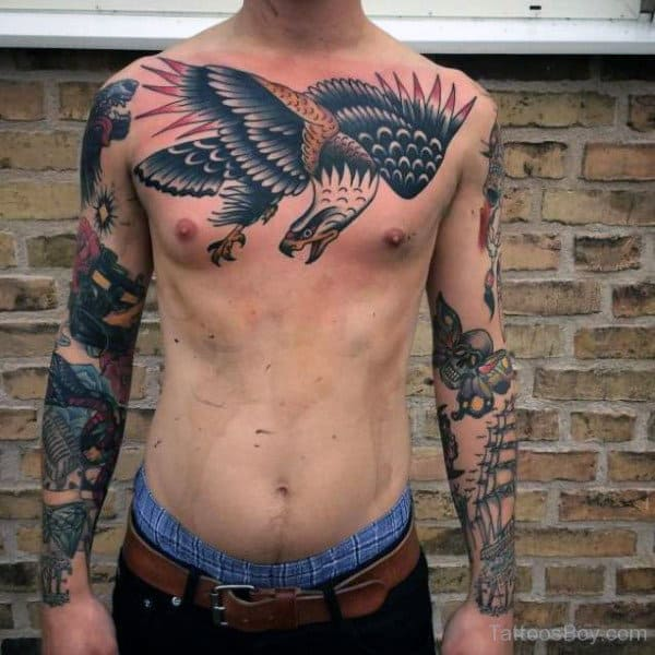 Traditional Chest Mens Flying Eagle Tattoo Inspiration