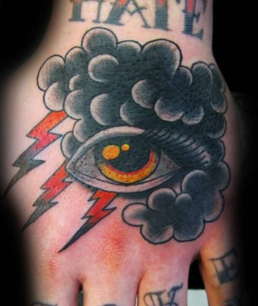 Traditional Clouds With Eye Male Hand Tattoos