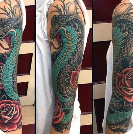 Traditional Cobra Snake With Red Rose Flower Guys Sleeve Tattoo