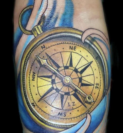 Traditional Compass Tattoo For Men