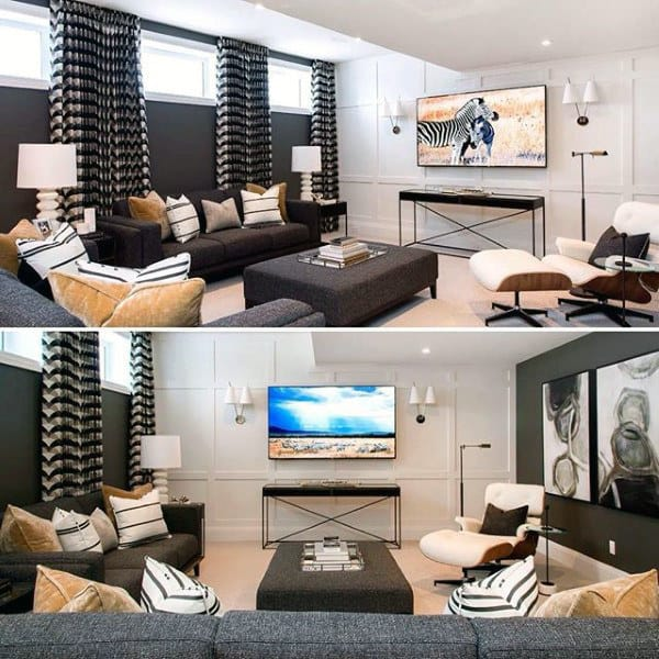 Traditional Contemporary Finished Basement Living Room Design Ideas