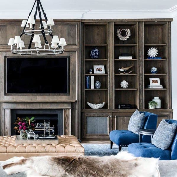 Traditional Contemporary Wood Floor To Ceiling Bookshelves Interior Design