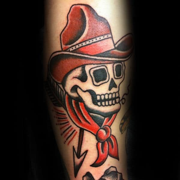 Traditional Cowboy Skull Mens Arm Tattoos