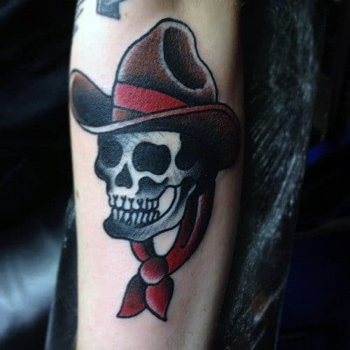 Traditional Cowboy Skull Mens Small Shaded Outer Forearm Tattoo Design Ideas