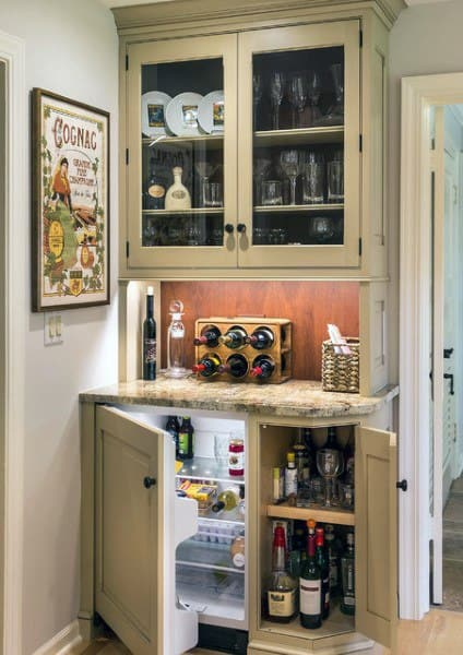 Traditional Cream Color Mini Bar Ideas