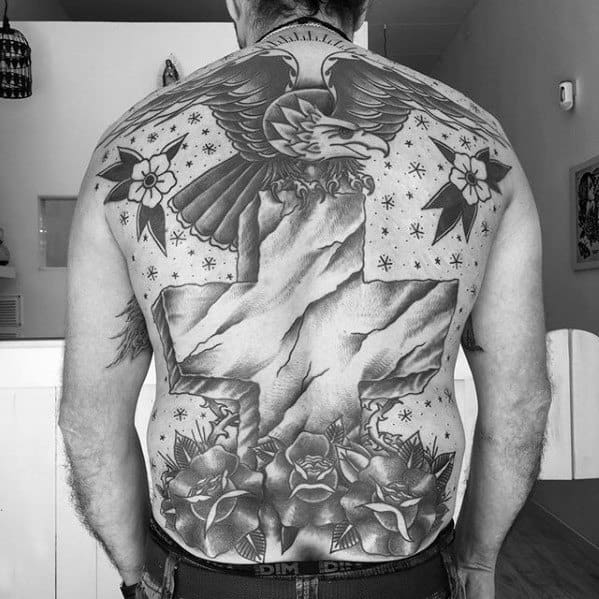 Traditional Cross Mens Tattoo Designs