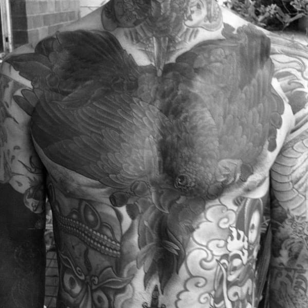 Traditional Crow Mens Black Ink Chest Cover Up Tattoo