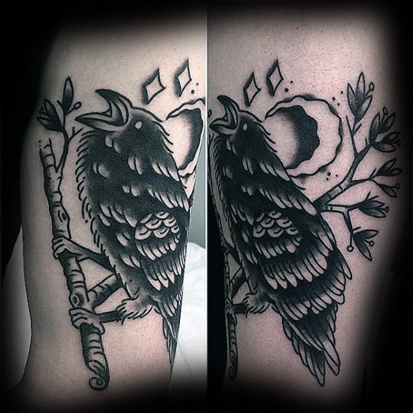 Traditional Crow With Moon Mens Old School Leg Tattoos