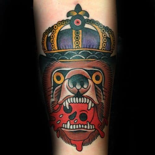 50 Traditional Crown Tattoo Designs For Men - Old School Ideas