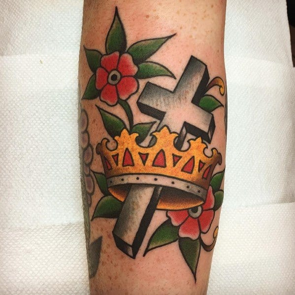 Traditional Crown Tattoos For Gentlemen