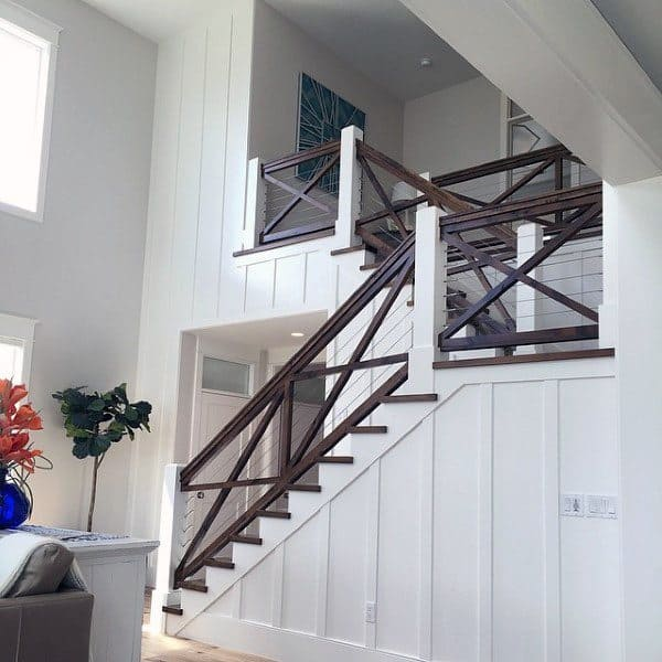 Traditional Dark Wood White Paint Staircase Ideas