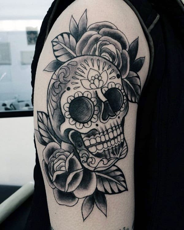 Traditional Day Of The Dead Mens Skull And Roses Arm Tattoo