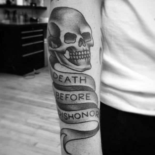 Traditional Death Before Dishonor Skull Male Outer Forearm Tattoo