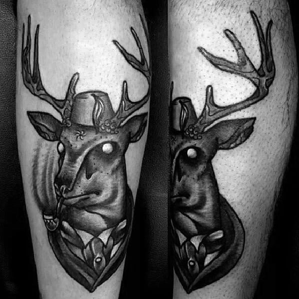 Traditional Deer With Pipe Mens Leg Tattoo