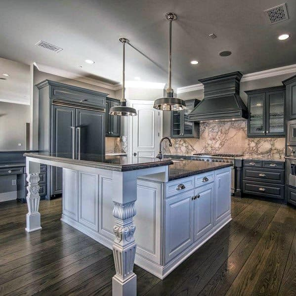 Traditional Designs For Kitchens Grey Color