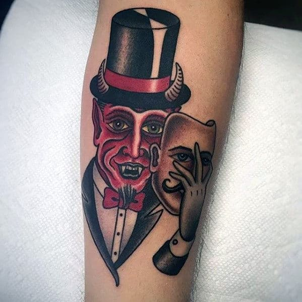 Traditional Devil With Mask Mens Forearm Tattoo