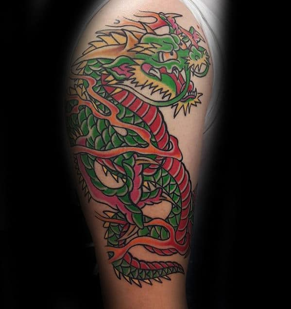 Traditional Dragon Green And Red Ink Mens Old School Arm Tattoos
